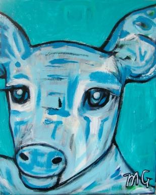 Blue Deer, 16 x 20, acrylic on canvas