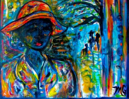Orange Hat, 24 x 30, acrylic on canvas