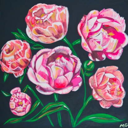 Peonies, 36 x 36, acrylic on canvas