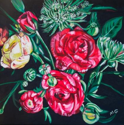 Spring Ranunculus, 20 x 20, acrylic on canvas